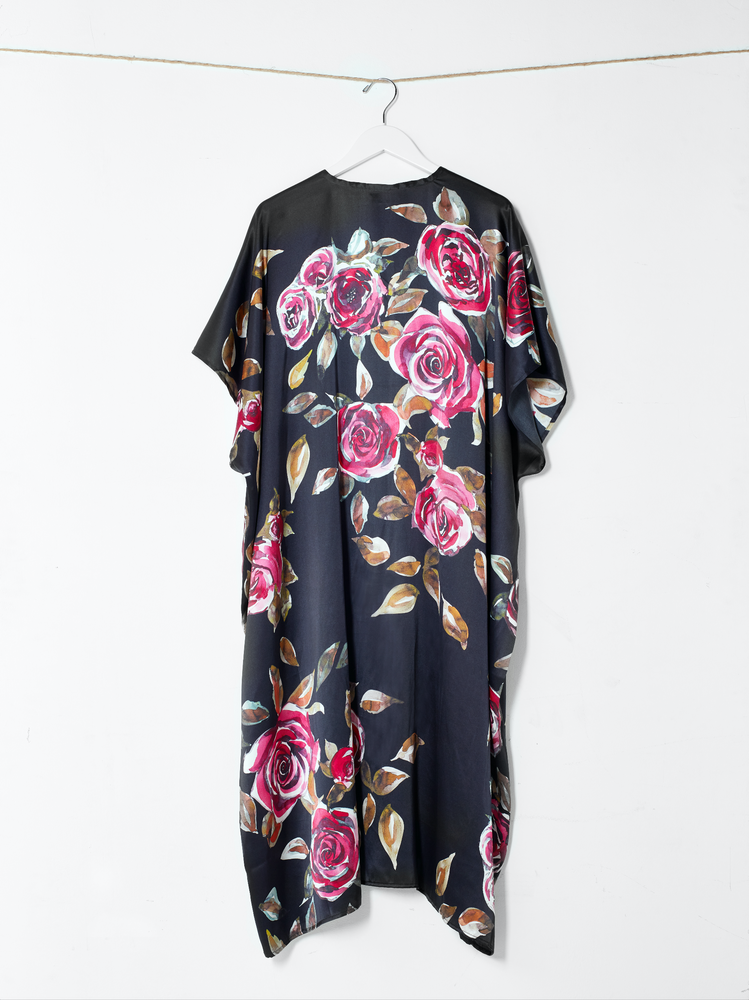 Load image into Gallery viewer, The Black Roses Kimono