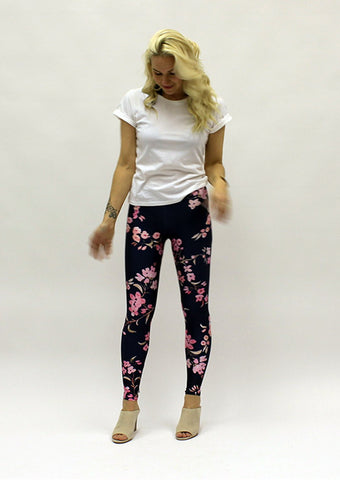 Navy Cherry Blossoms - Leggings