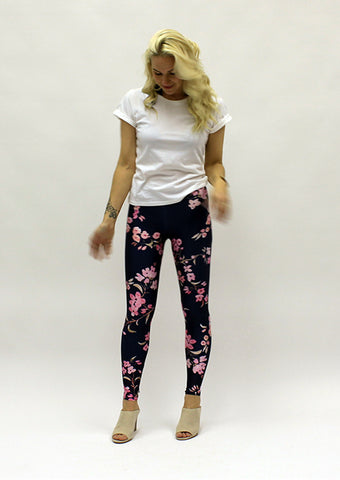 Dark Navy Cherry Blossom Leggings