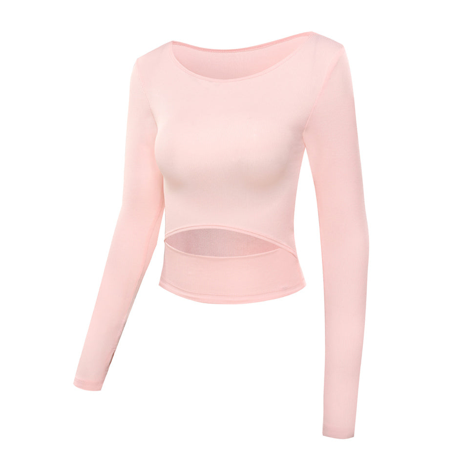 Yoga Long Sleeves Crop Tops Workout Fitness Running Sport T Shirts