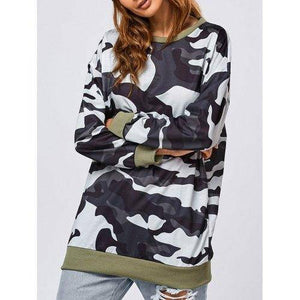 Sweat à motif camouflage long