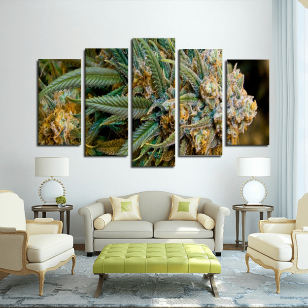 5 Panel Marijuana Canvas Wall Art