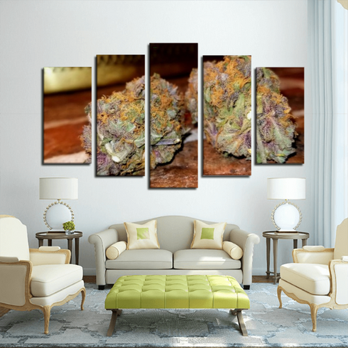 5 Panel Canvas Purple Bud Wall Art