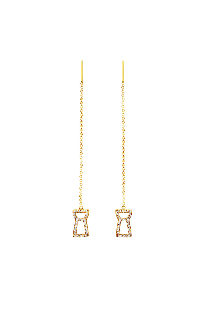 Sapphire Drop Chain Latte Stone Earrings - 24K Gold