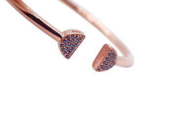 Double Latte Bangle- 24K Rose Gold & Black Diamonds