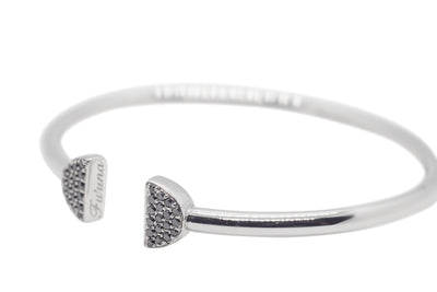 Double Latte Bangle- Silver Ice & Black Diamonds