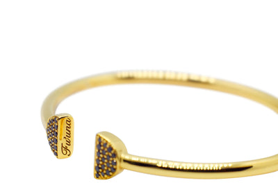 Double Latte Bangle- 24K Gold & Black Diamonds