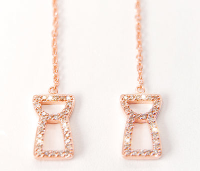Champagne Diamond Drop Chain Latte Stone Earrings - Rose Gold