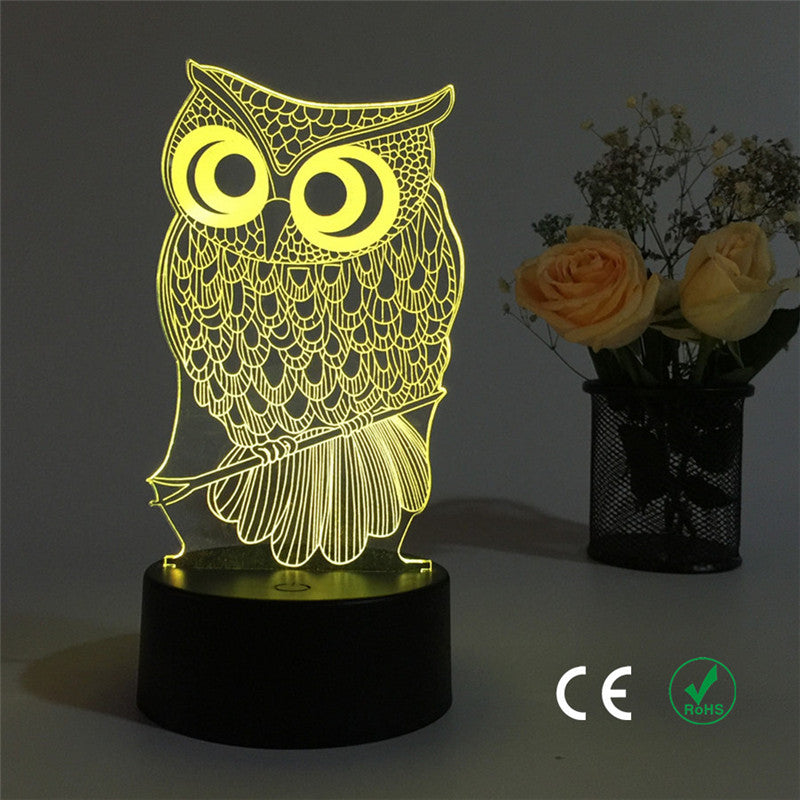 3D Owl LED light - The Unique Home