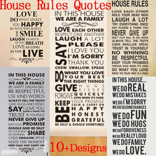 House Rules Family Sticker - The Unique Home