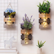 Hanging Wooden Hydroponic Plant Glass Vase Pastoral Wall