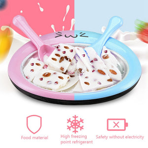 Quick Ice Cream Maker Pan With 2pcs Fried Ice Shovel