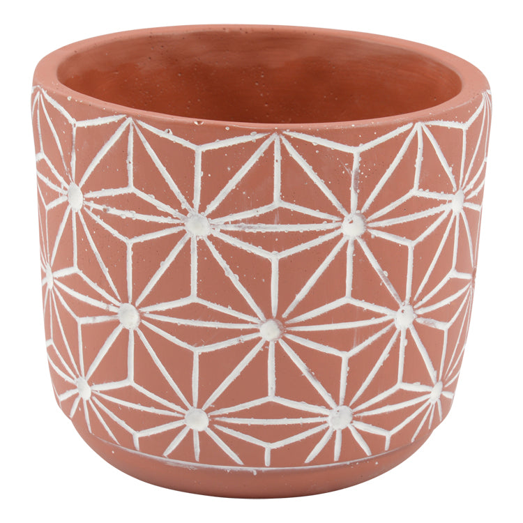 Zuni Concrete Pot - Red 15cm