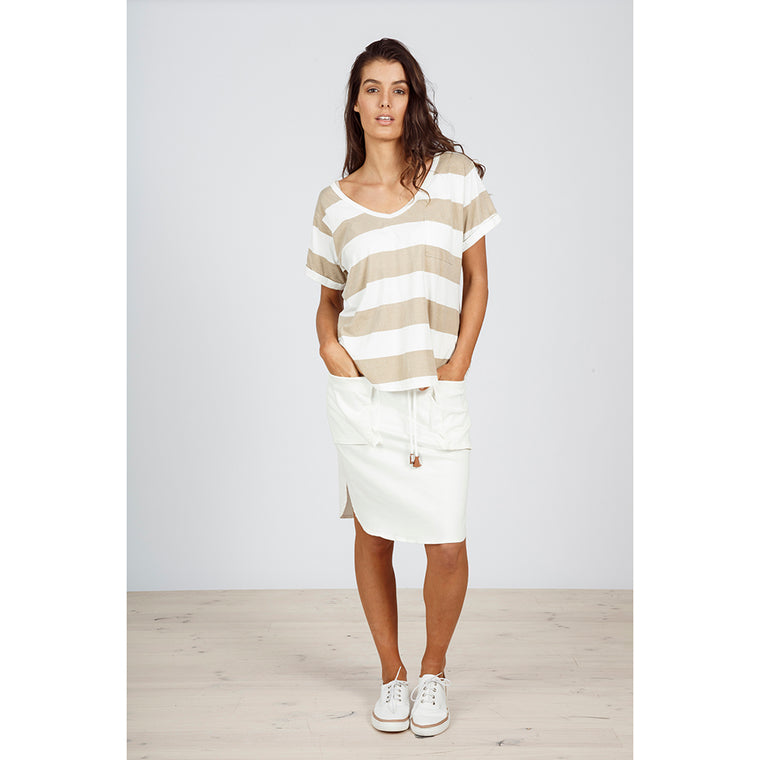 South V T-Shirt - Natural Stripe