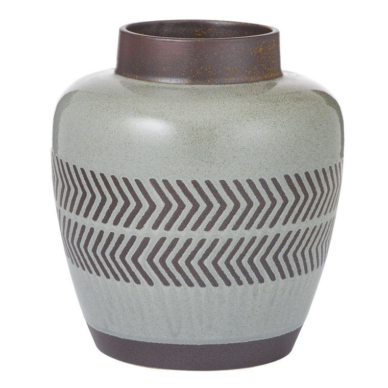 Valdez Vase 22cm Grey and Chestnut