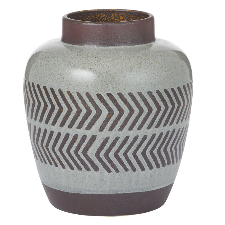Valdez Vase 16cm Grey and Chestnut