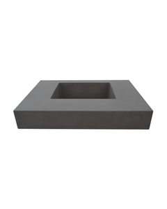 Front view of Hyde Concrete's Crab Pot style sink. Color shown is Concrete gray.