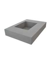 Left side view of Hyde Concrete's Crab Pot style sink. Color shown is Concrete gray.