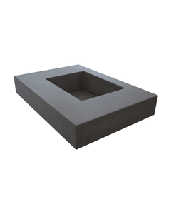 Right side view of Hyde Concrete's Crab Pot style sink. Color shown is Concrete gray.