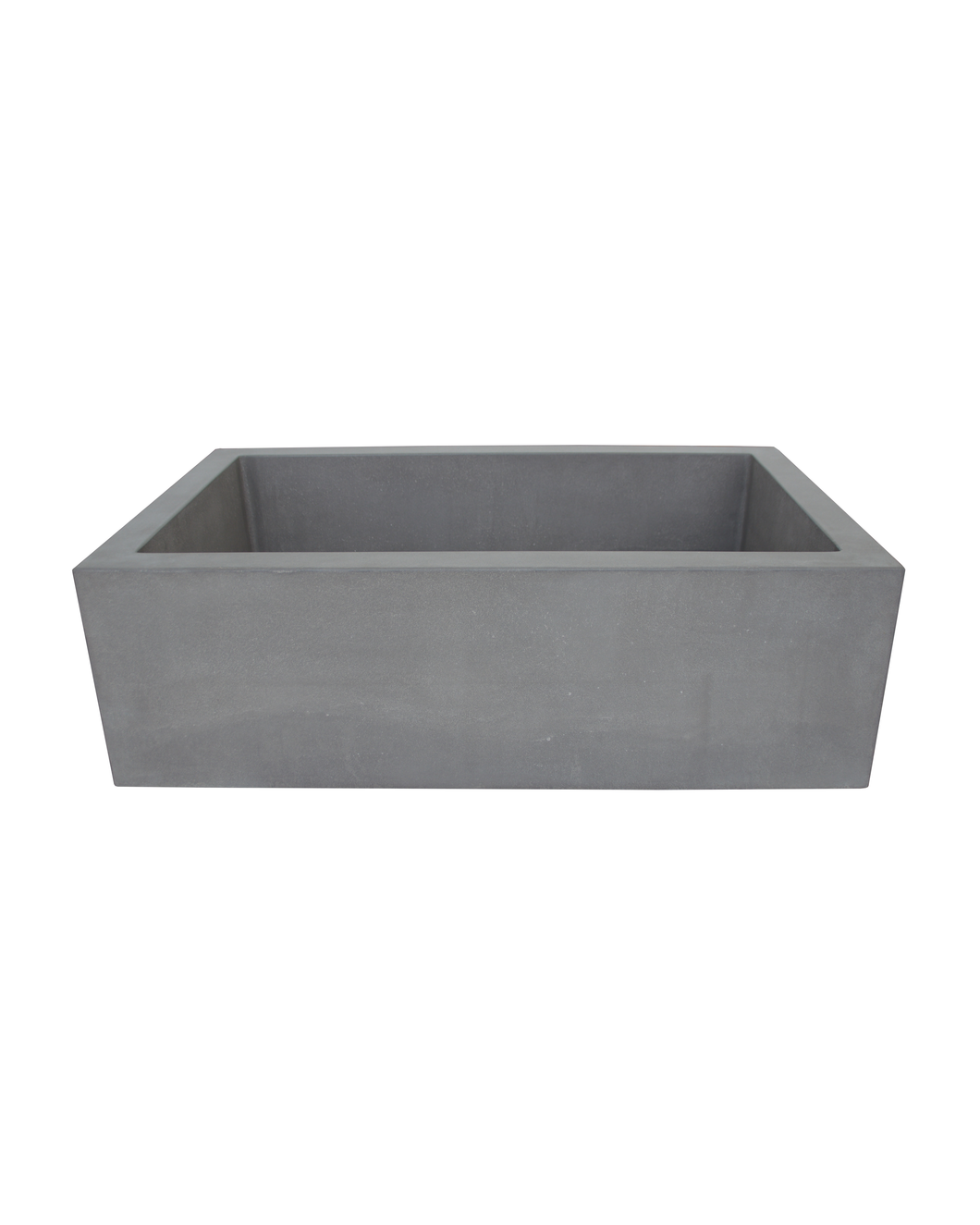 Front view of Hyde Concrete's Farmhouse 1 style bathroom trough sink. Pictured in OPC Portland Cement color.