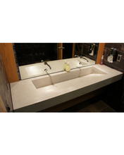 Concrete Medium Ramp Bathroom Vanity Sink pictured in Cement Gray