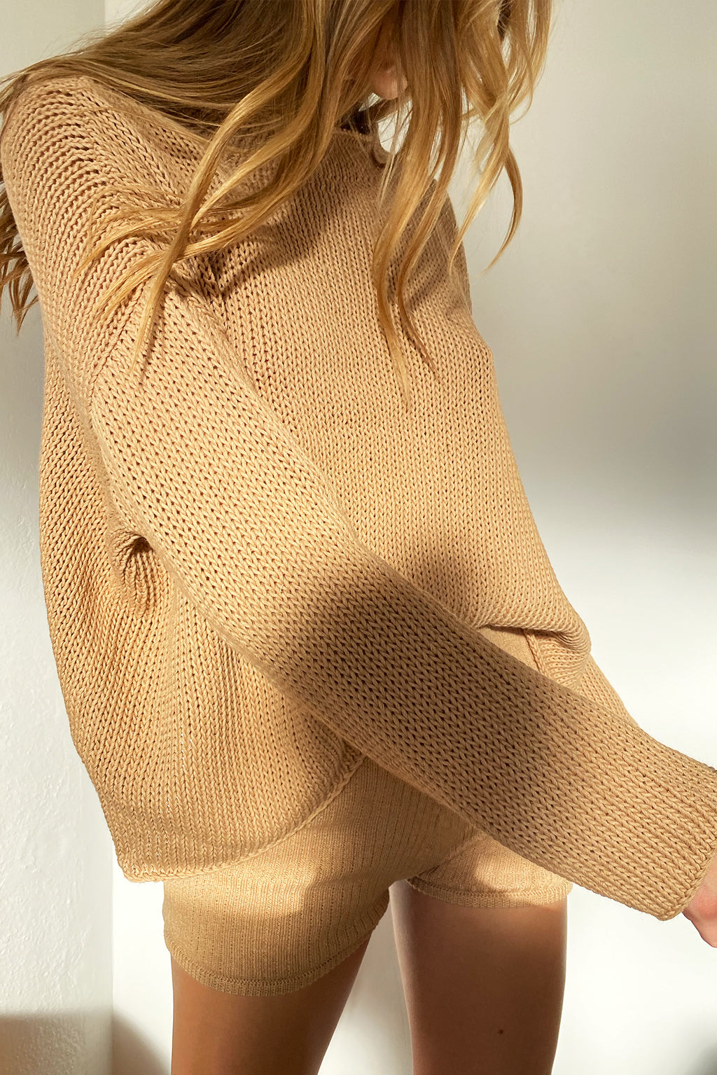Organic Knit Sweater - Tan