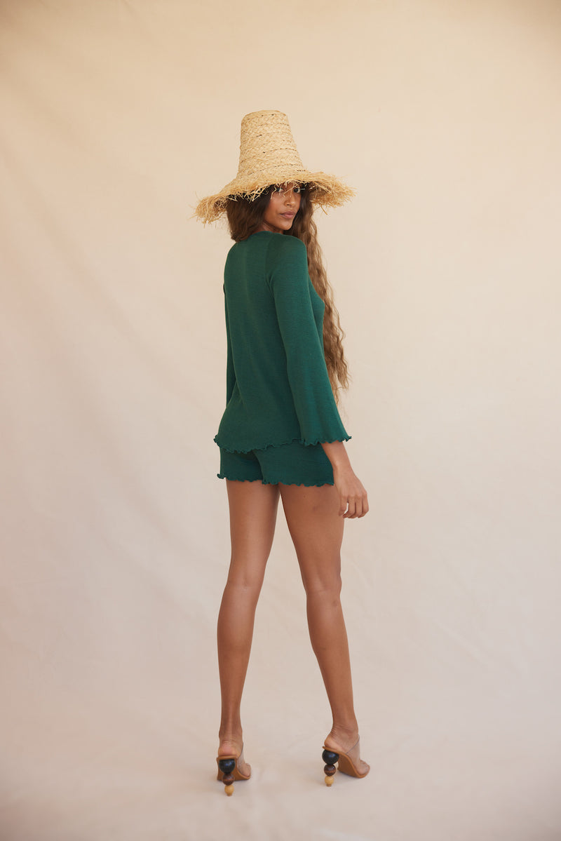 Cora Knit Shorts - Emerald