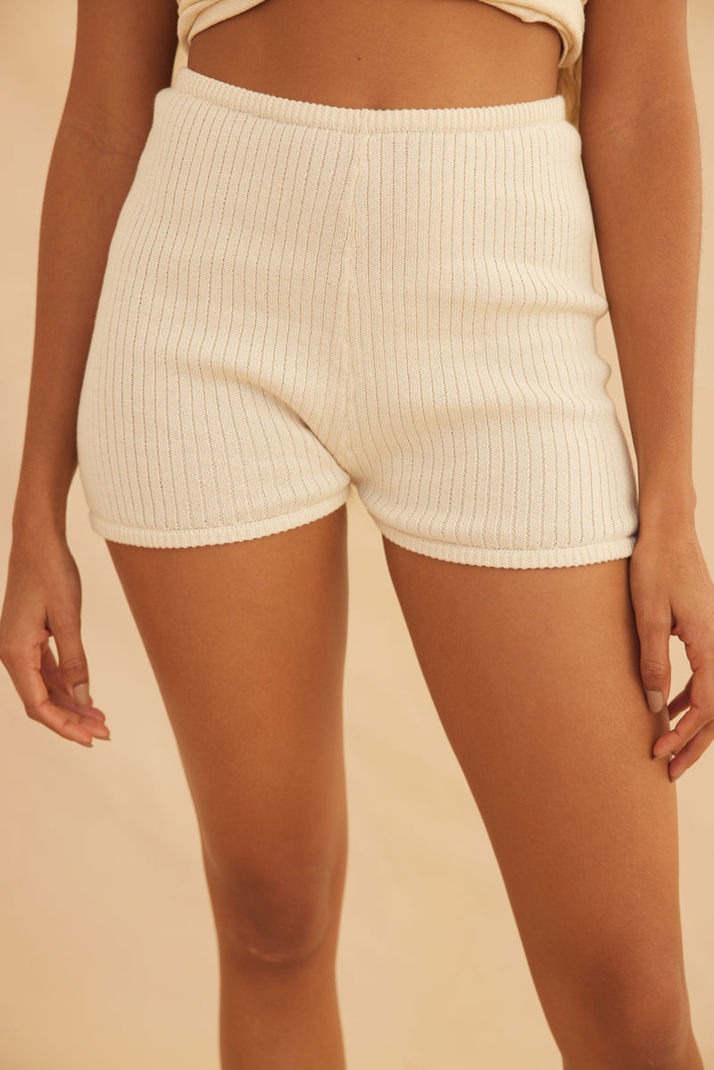 Organic Knit Ribbed Short - Cream