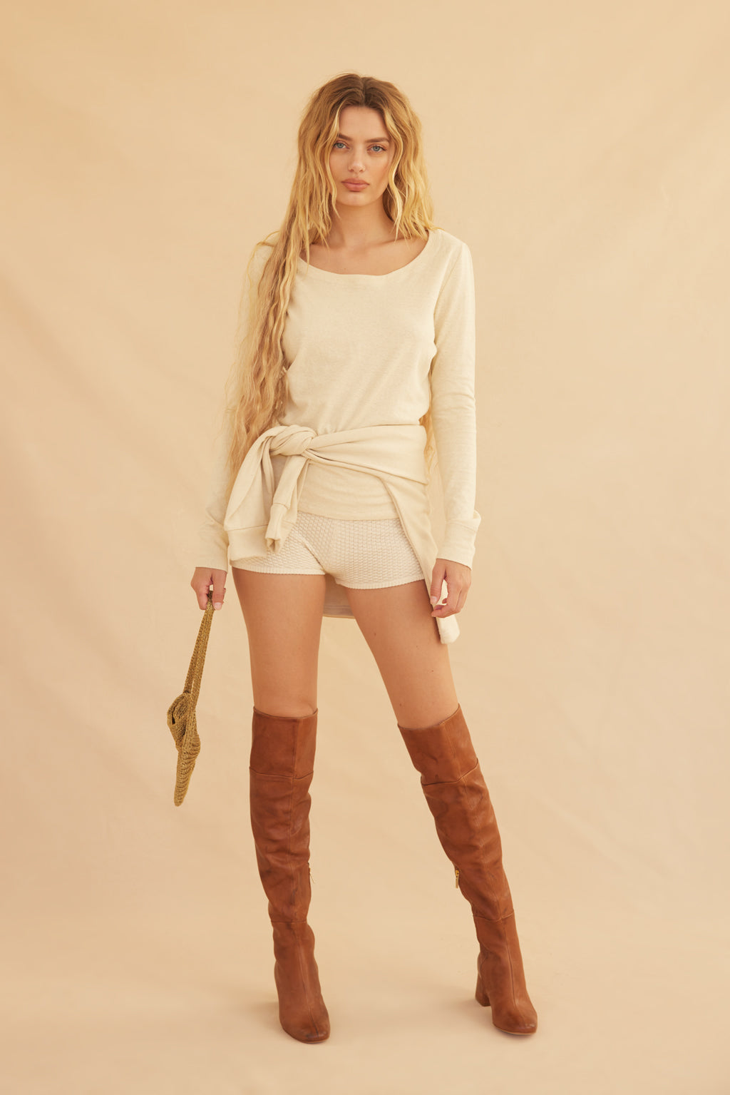 Organic Long Sleeve Top - Beige