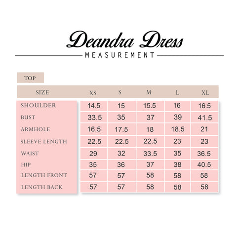 Deandra Dress measurement