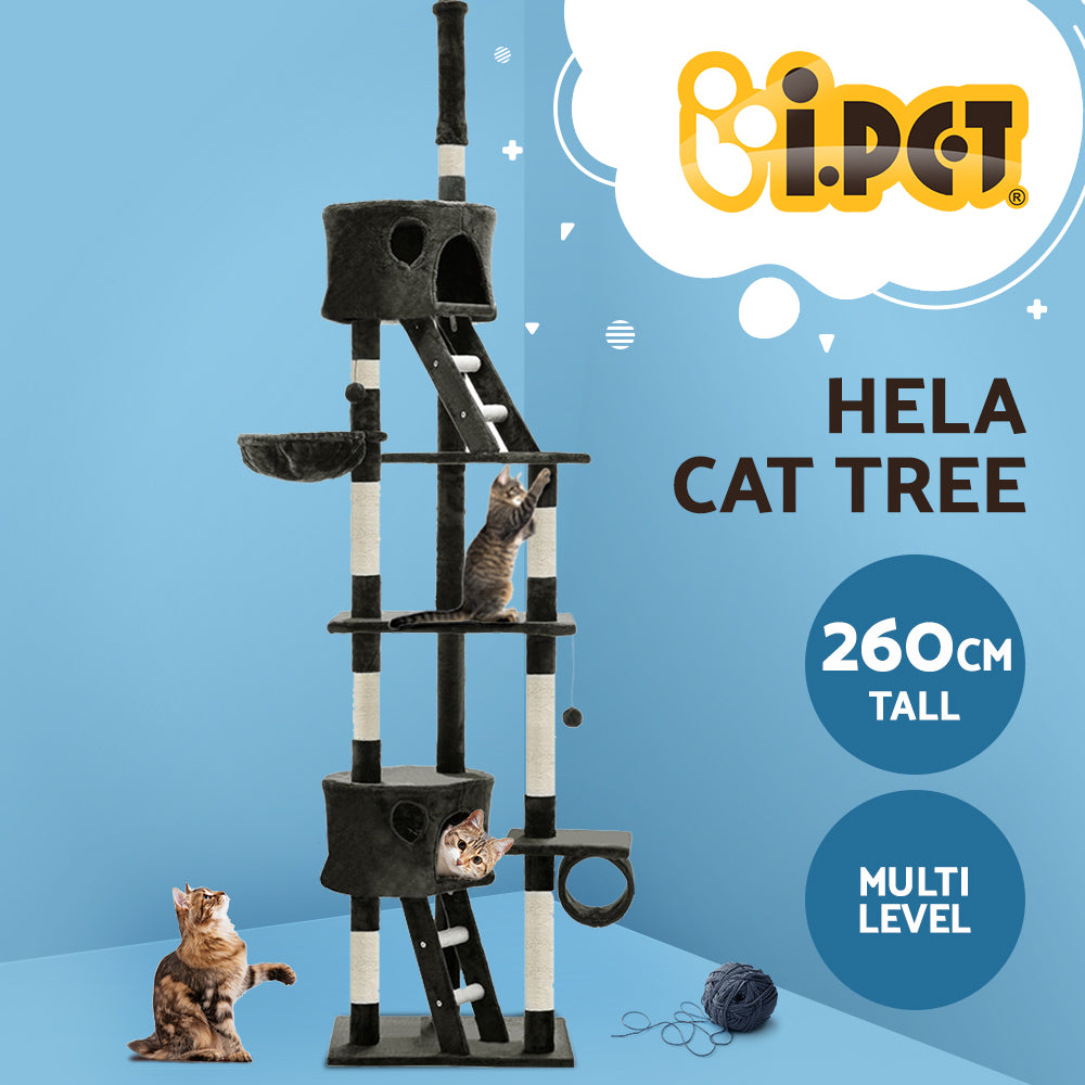 ipet 260cm scratch tree grey side view