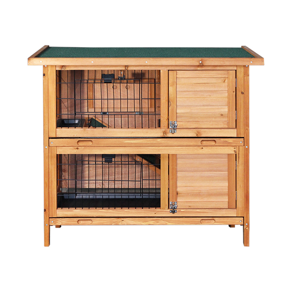 ipet duplex double storey rabbit hutch front