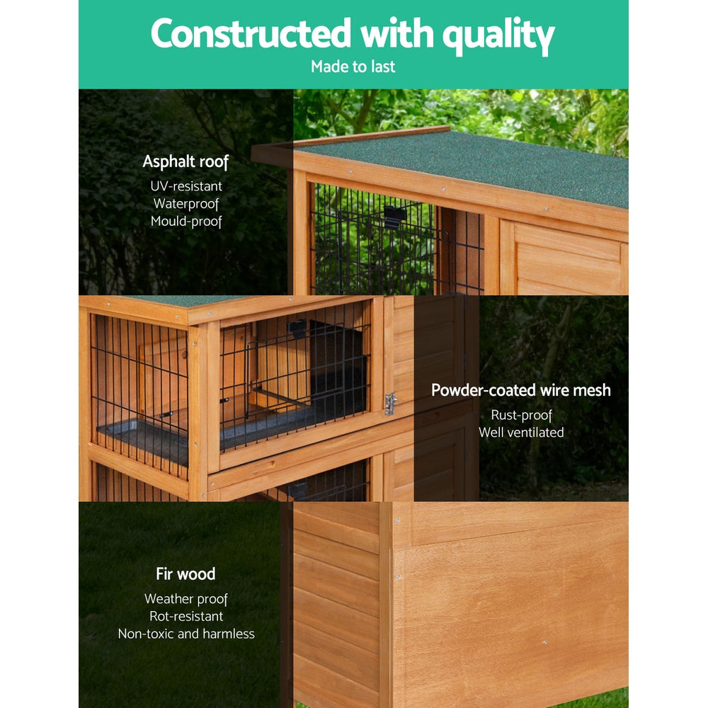 ipet duplex double storey rabbit hutch angled view