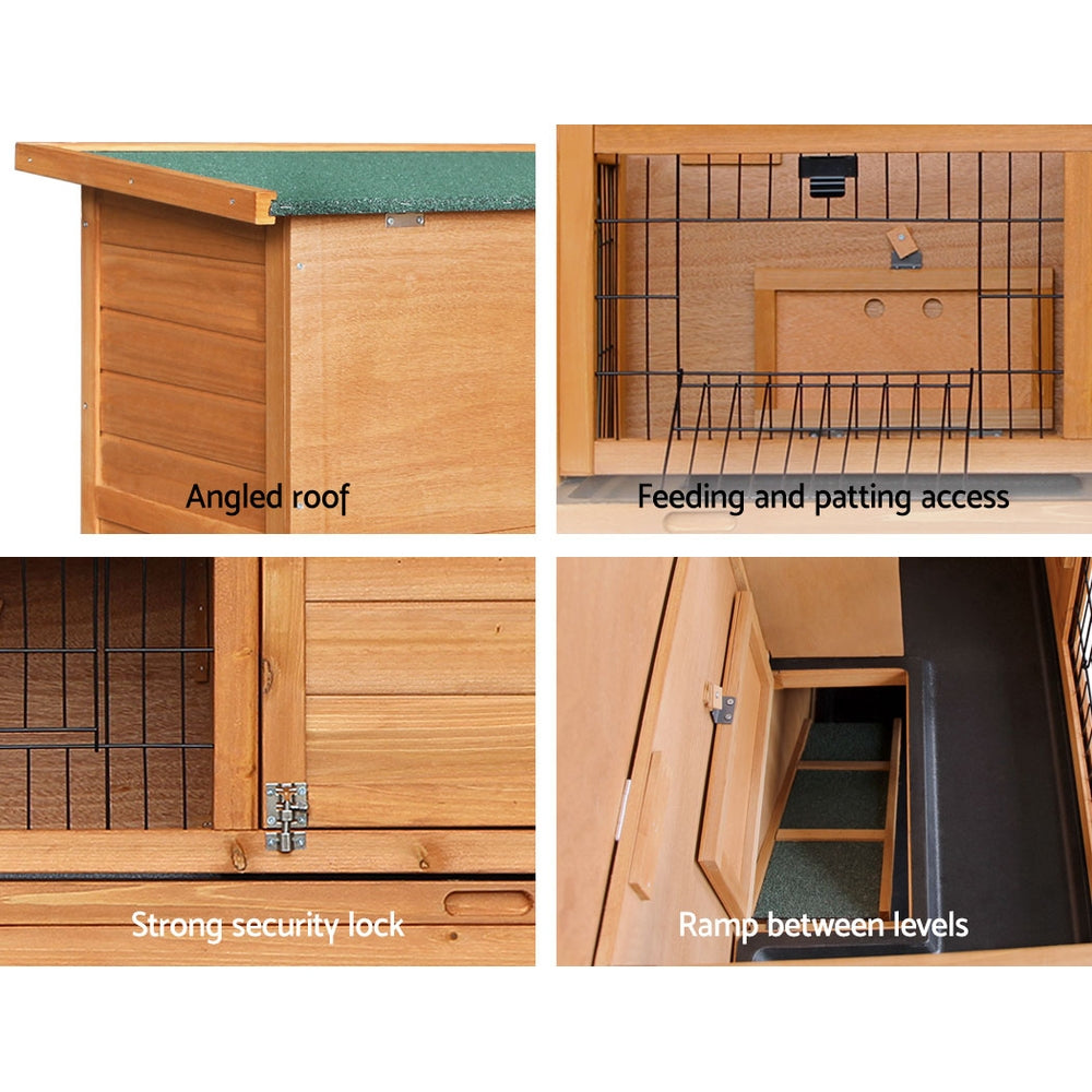 ipet duplex double storey rabbit hutch side