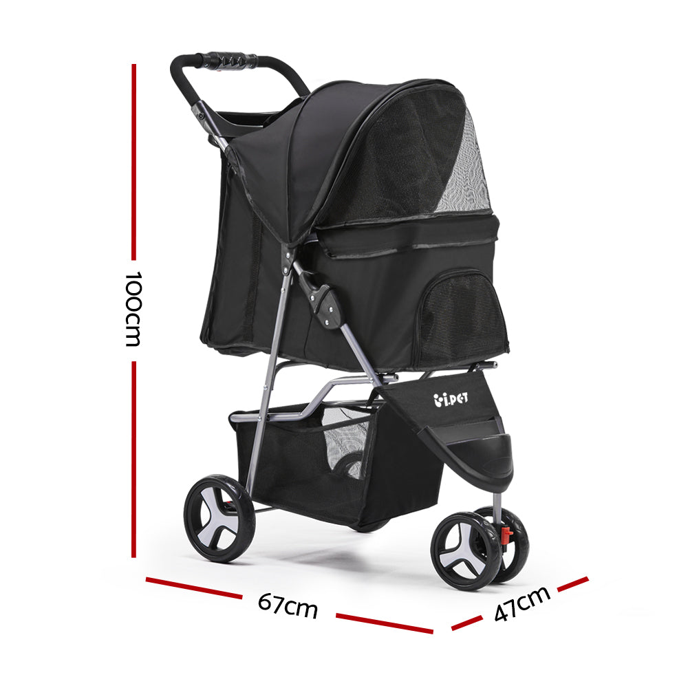 ipet pet stroller black 3 wheels specs