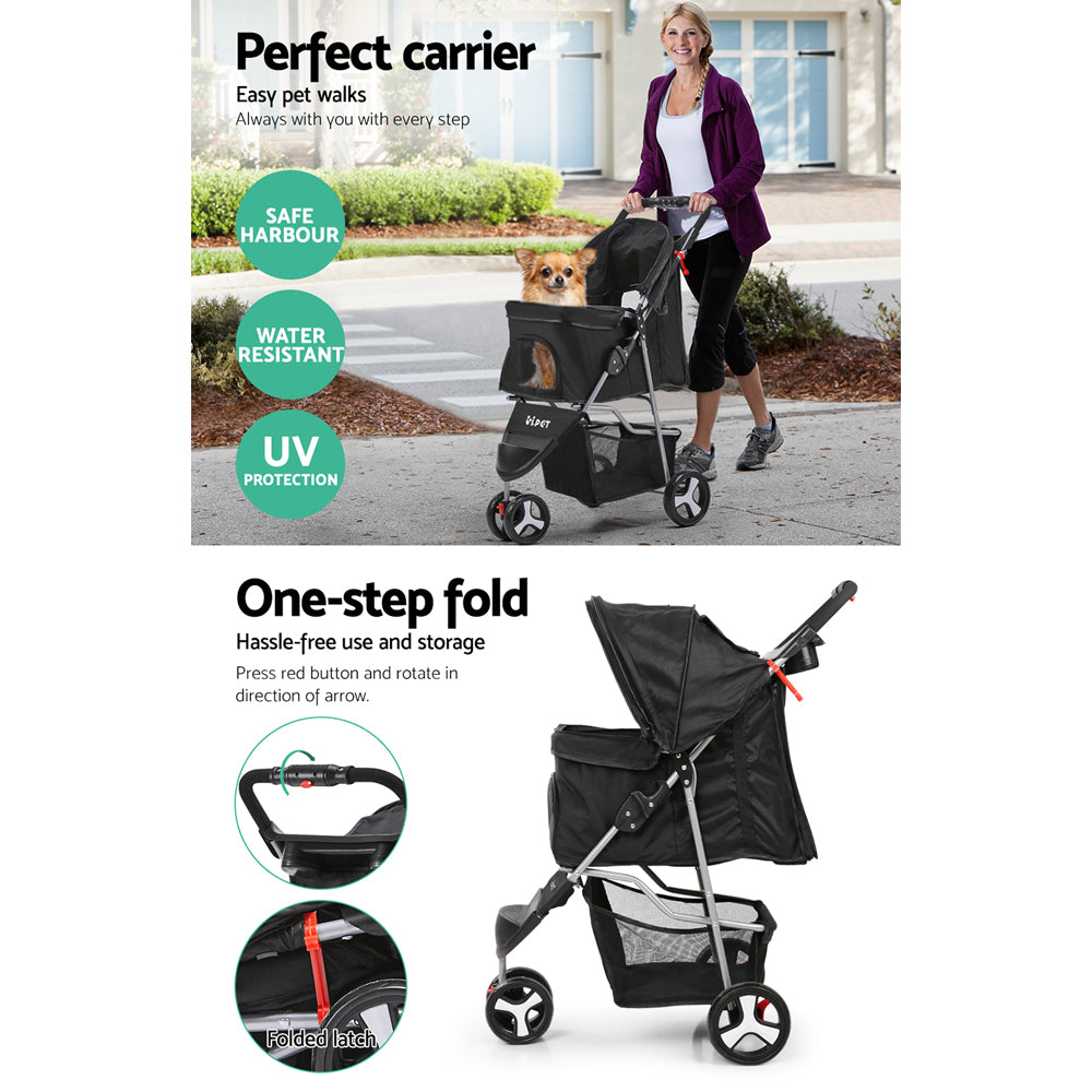 ipet pet stroller black 3 wheels side