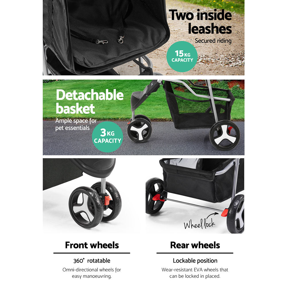 ipet pet stroller black 3 wheels flat