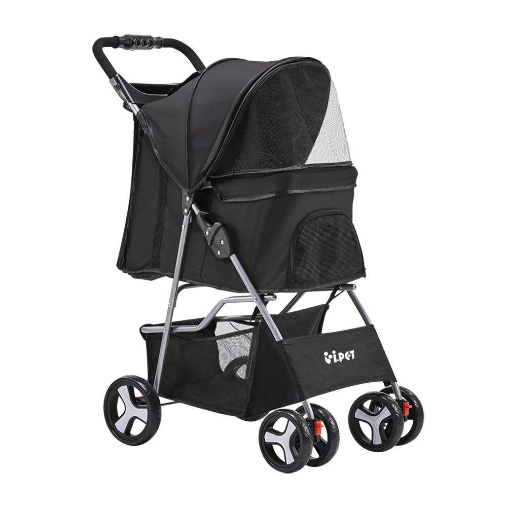 ipet pet stroller black 4 wheels