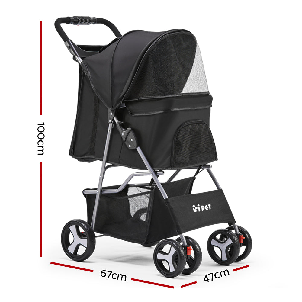 ipet pet stroller black 4 wheels specs