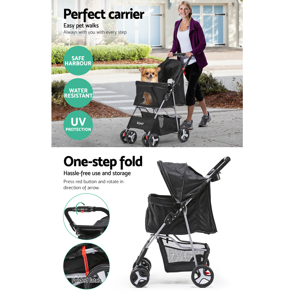 ipet pet stroller black 4 wheels side