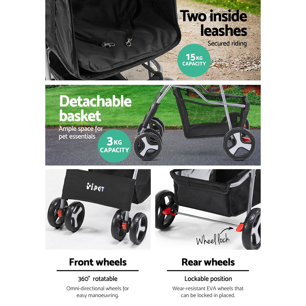 ipet pet stroller black 4 wheels flat