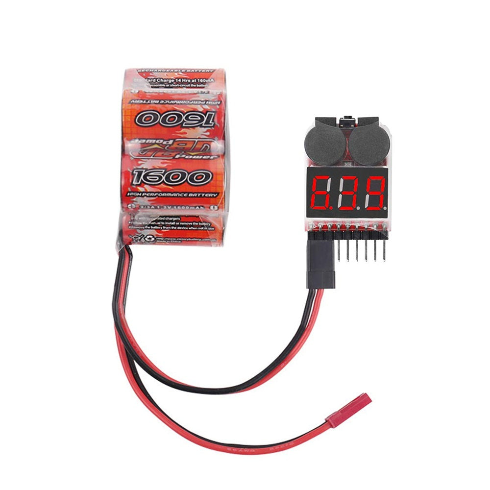 4pcs 1s-8s Lipo Battery Tester, RC Lipo Battery Low Voltage Alarm Buzzer Indicator Checker with LED
