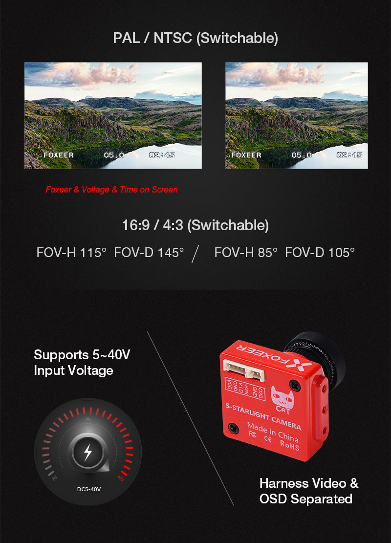 FOXEER CAT Professional NIGHT Fight FPV Camera SUPER Staight 2MP Sensor Ultra High Definitions