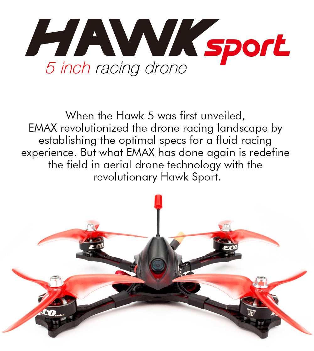 Emax Hawk Sport 5 inch Racing Drone BNF/PNP version ECO2207 2400KV/1700KV