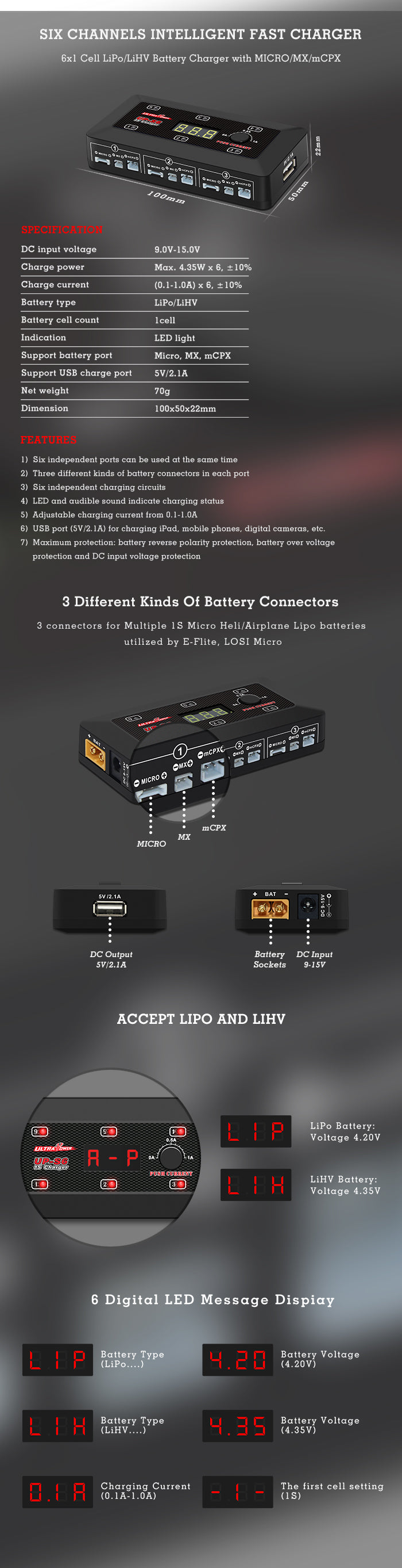 Up S6 1s Lipo Battery Charger Lihv For Blade Inductrix Reverse Polarity Protection Tiny
