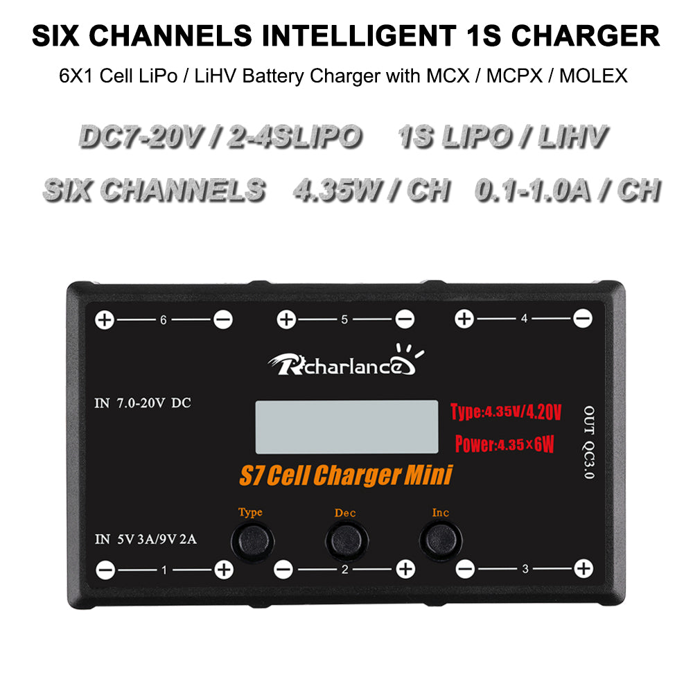 S7 CELL CHARGER MINI 1S Battery Charger 6x4.35W LiPO/LiHV Battery Charger With Micro MX mCPX