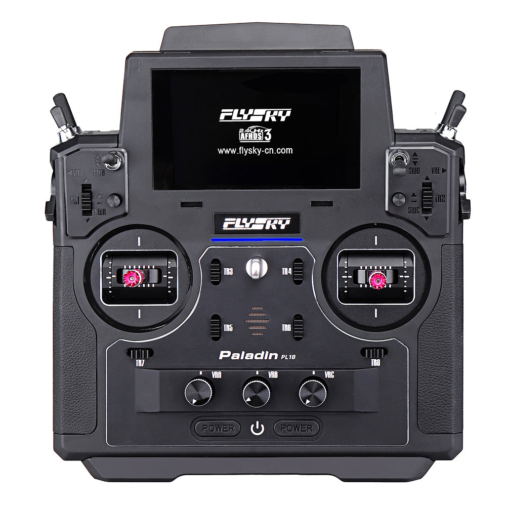 FLYSKY FS-PL18 Paladin 2.4G 18CH Radio Transmitter with FS-FTr10 Receiver HVGA 3.5 Inch TFT Touch Screen for RC FPV Racing Drone Airplane Helicopter Vehicle - Mode 2 (Left Hand Throttle)