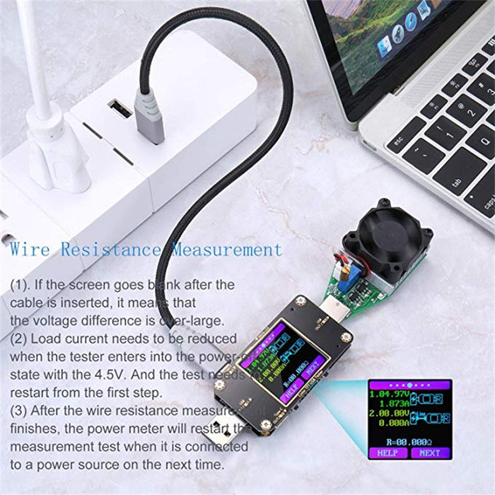 USB Voltage Tester and Current Tester with Bluetooth  USB Multimeter  Multi-function Type-C PD Tester