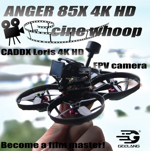 ANGER 85X 4K HD Cine Whoop 3-4S FPV Racing Drone with Caddx Loris 4K FPV Camera