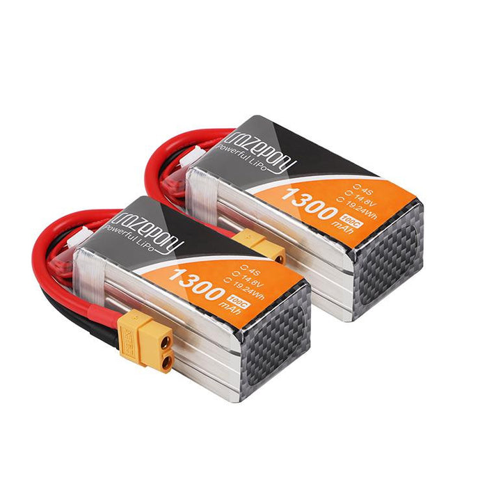 2pcs 1300mAh 4S 100C 14.8V LiPo Battery Pack with XT60 Plug